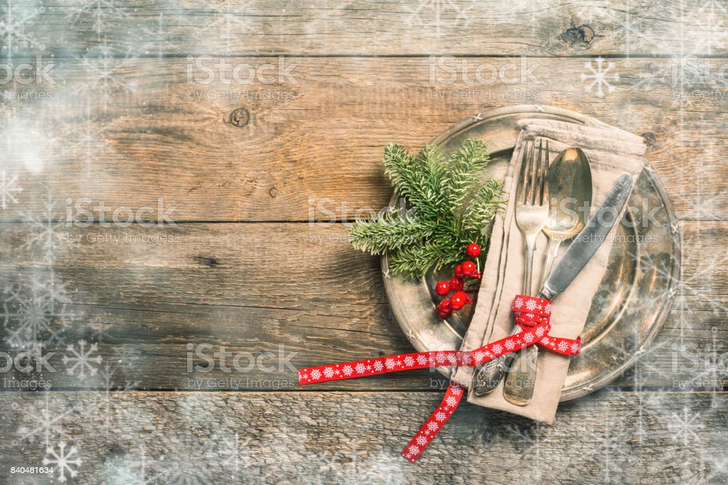Christmas table setting. stock photo