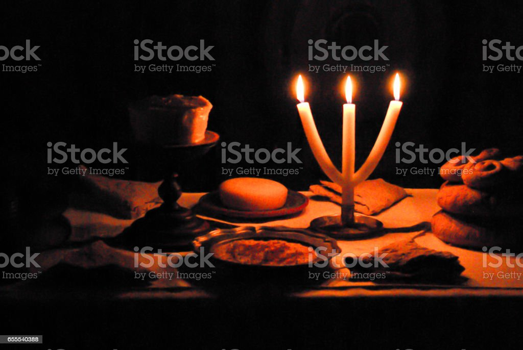 Christmas table with candle light stock photo