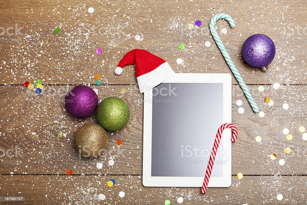 Christmas tablet PC with decoration royalty-free stock photo