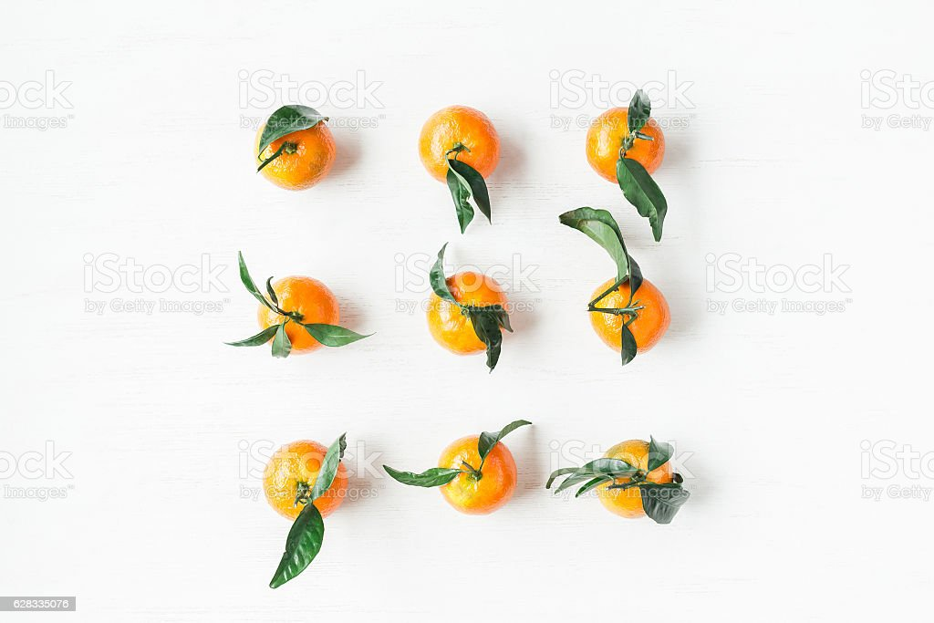 Christmas tangerines, flat lay, top view stock photo
