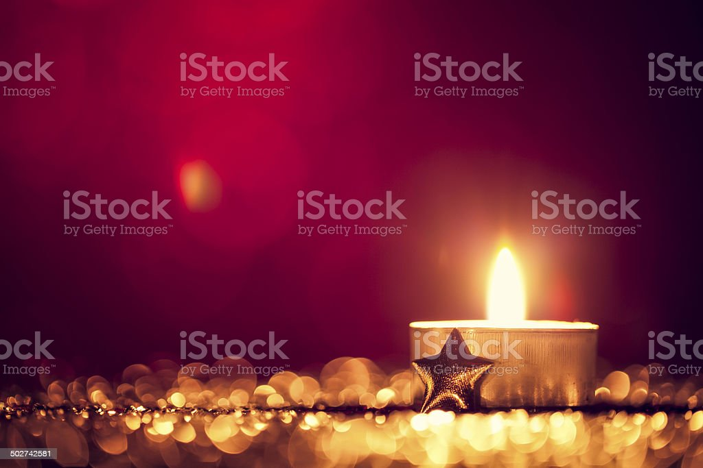 Christmas Tea Light - Candle Bokeh Defocused Decoration Gold stock photo