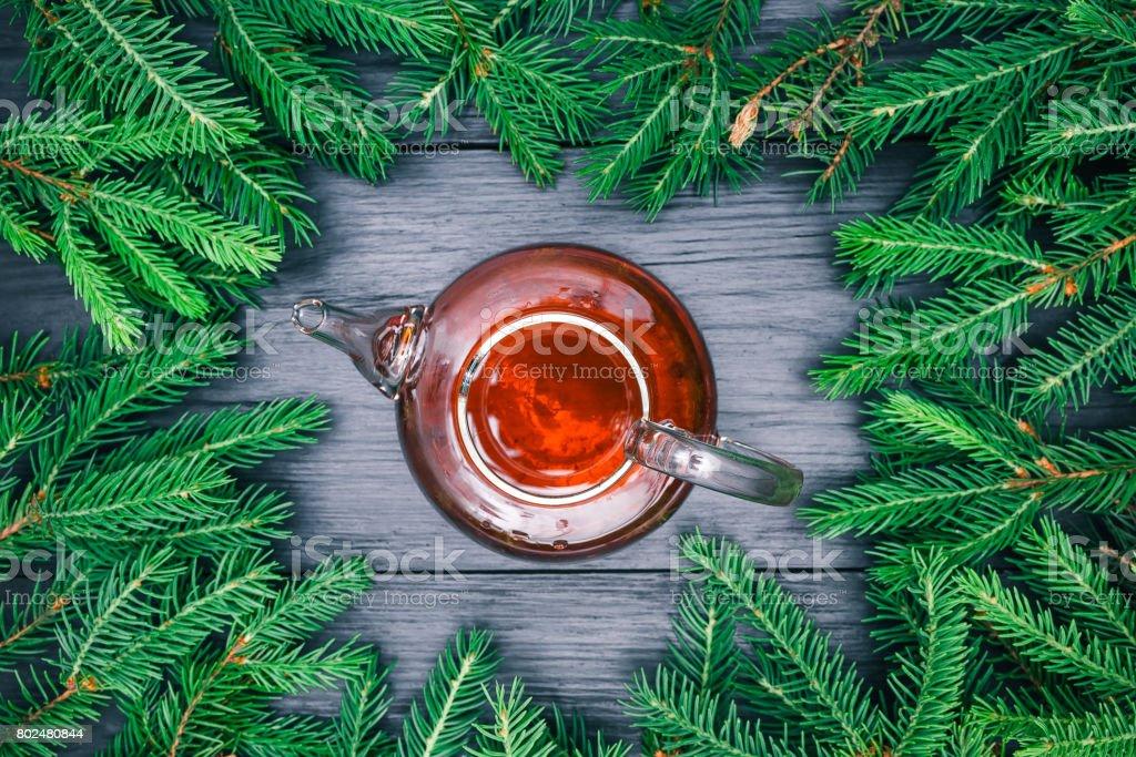Christmas tea pot stock photo