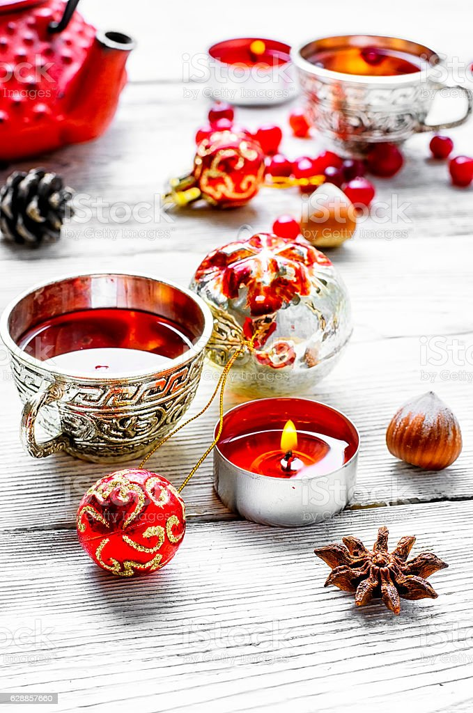 Christmas tea with berry cranberry stock photo