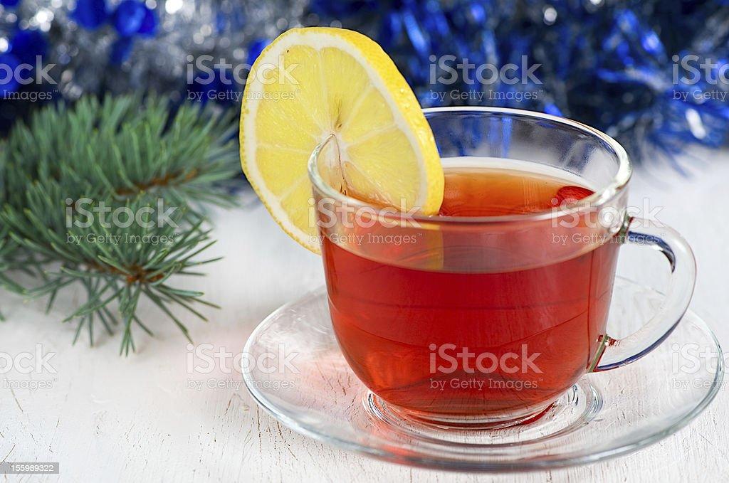 Christmas tea with lemon royalty-free stock photo