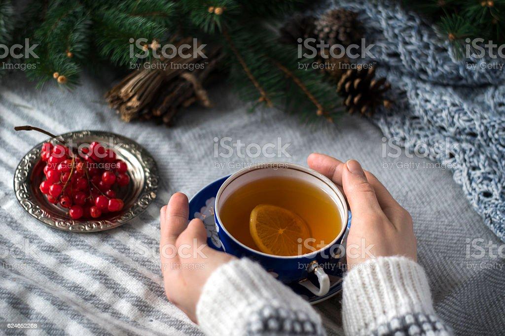 christmas tea with lemon stock photo