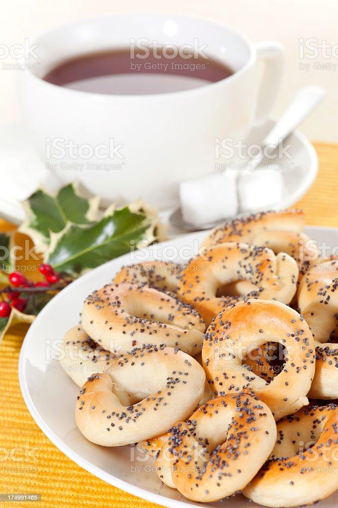 Christmas tea with poppy pretzels royalty-free stock photo