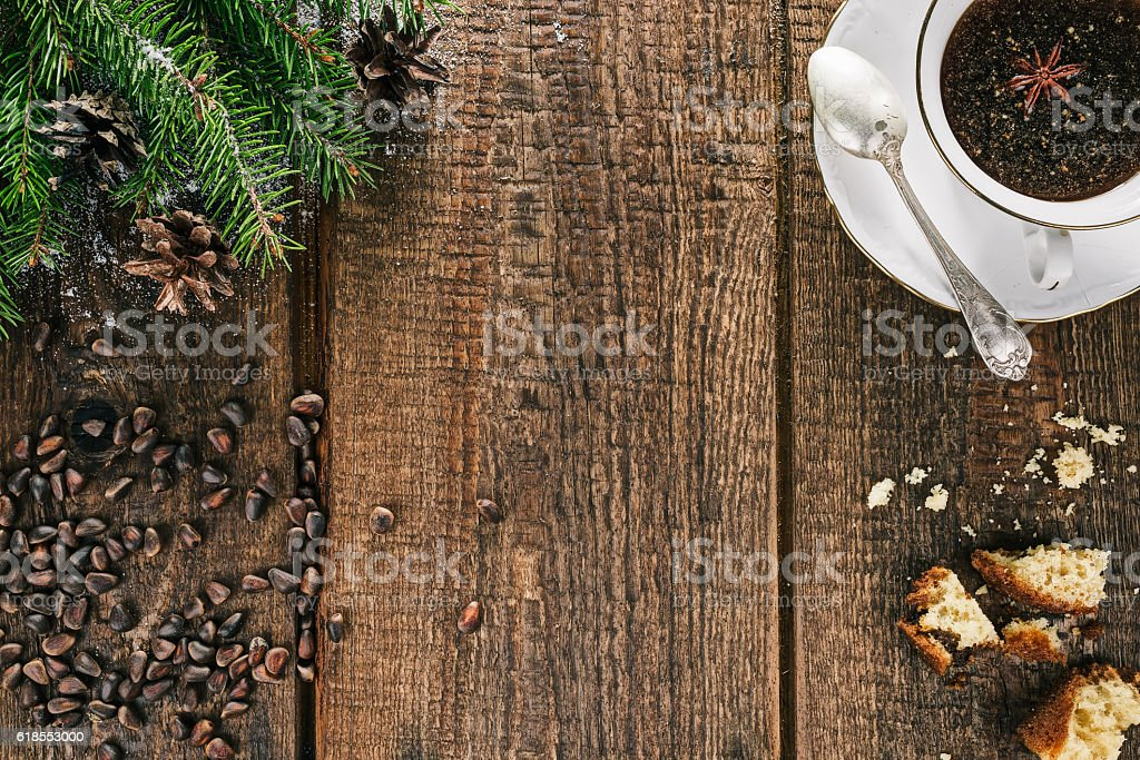Christmas tea with spices stock photo