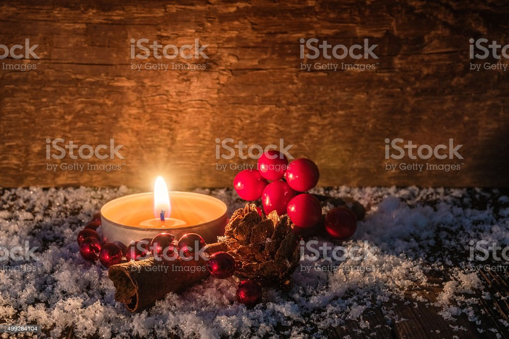 Christmas Tealight Candle Card stock photo