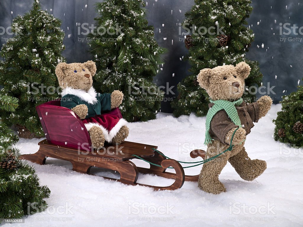 Christmas Teddy Bears with sled royalty-free stock photo