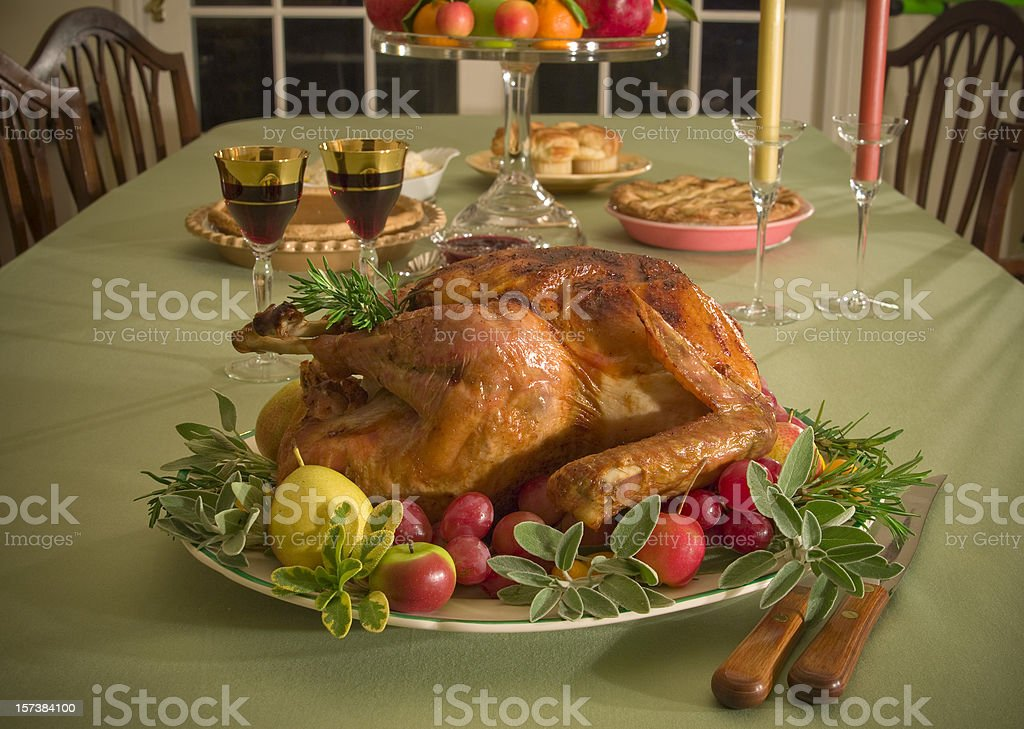 Christmas & Thanksgiving Food, Roast Turkey Dinner & Holiday Dining Table royalty-free stock photo