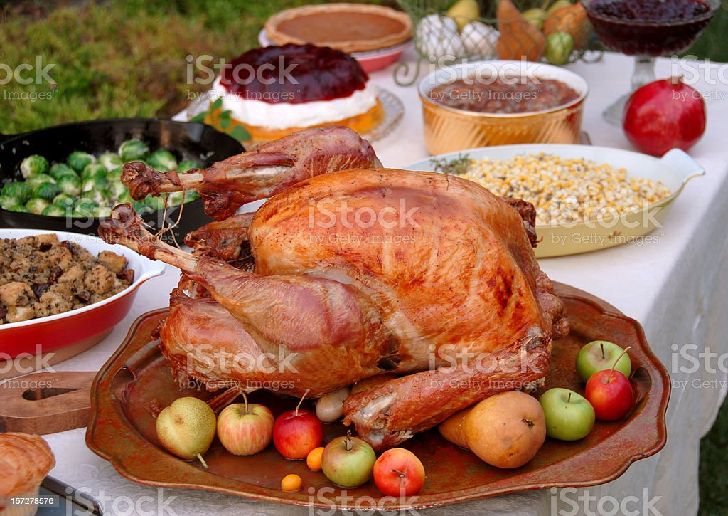 Christmas & Thanksgiving Food, Roast Turkey Dinner on Outdoor Dining Table royalty-free stock photo