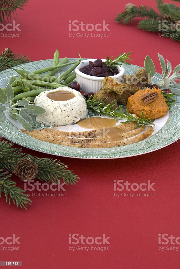 Christmas & Thanksgiving Holiday Food Plate, Dining Table & Roast Turkey Dinner stock photo