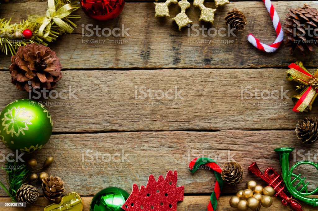 Christmas theme background in vintage tone. Rustic wood background...