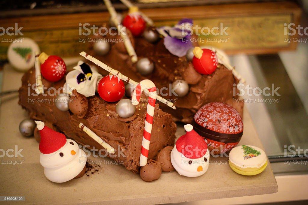 Christmas theme cake stock photo