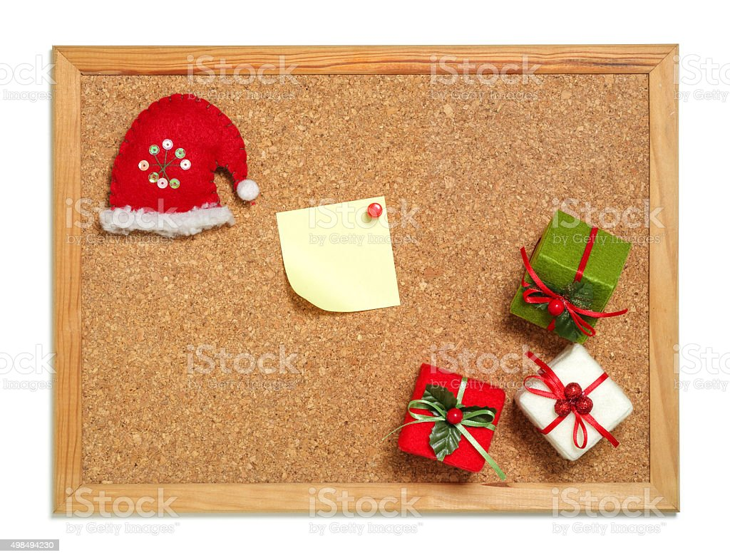 Christmas Theme Corkboard stock photo