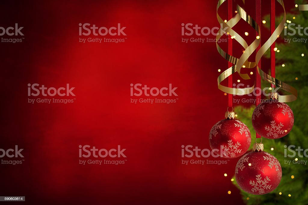 Christmas theme with red glass balls stock photo