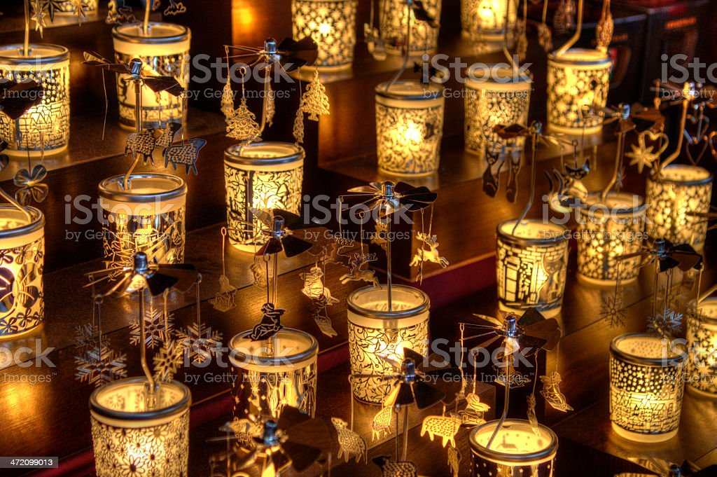 Christmas themed candle chimes stock photo