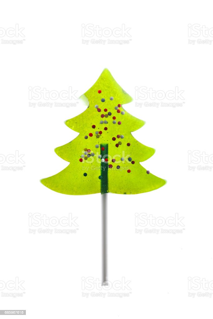 Christmas themed lollipop on white stock photo