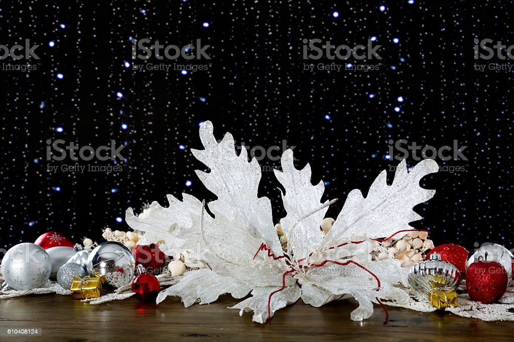 Christmas themes on black backgrounds with defocused lights stock photo