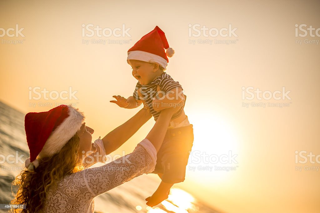 Christmas time at the beach stock photo