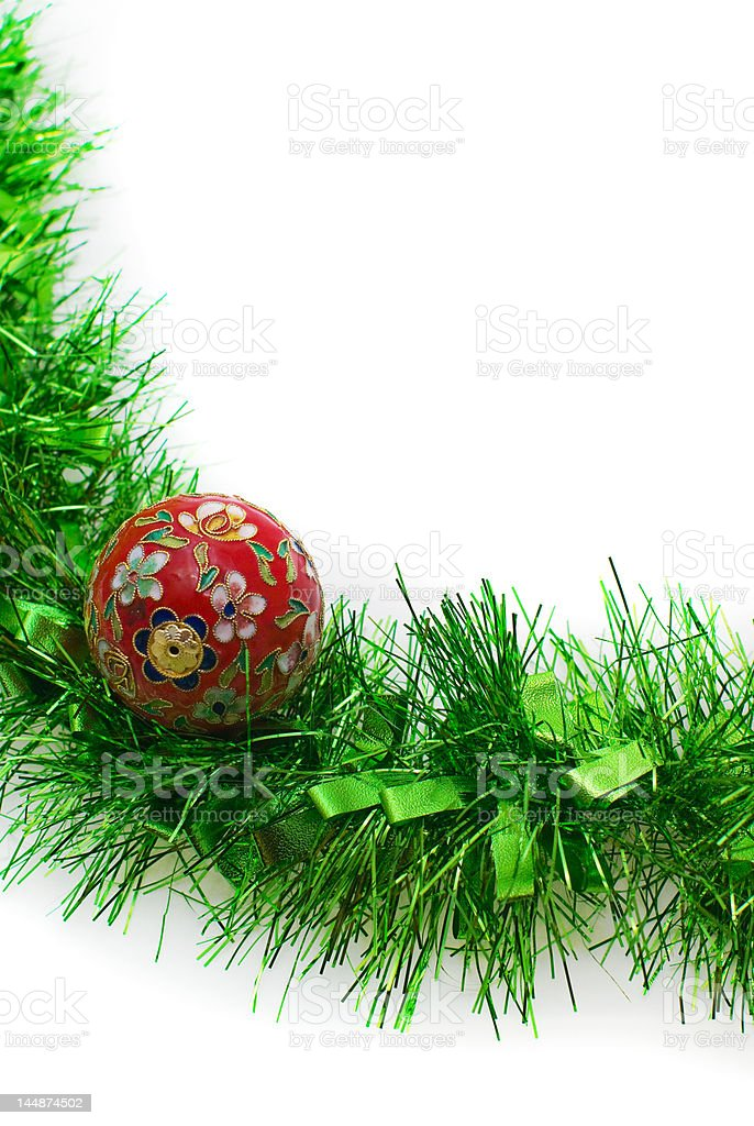 Christmas Time: Bauble and Tinsel stock photo