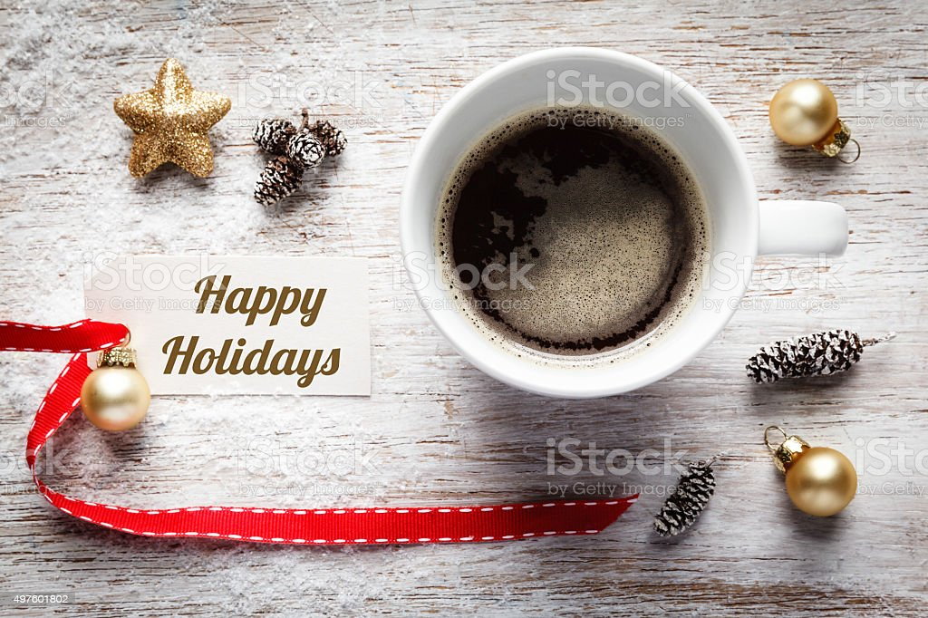 Christmas time, festive still life, cup of coffee, happy holiday stock photo