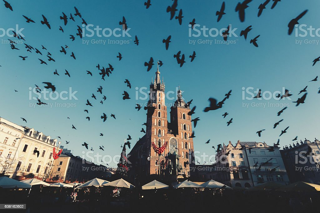 Christmas time in Krakow stock photo