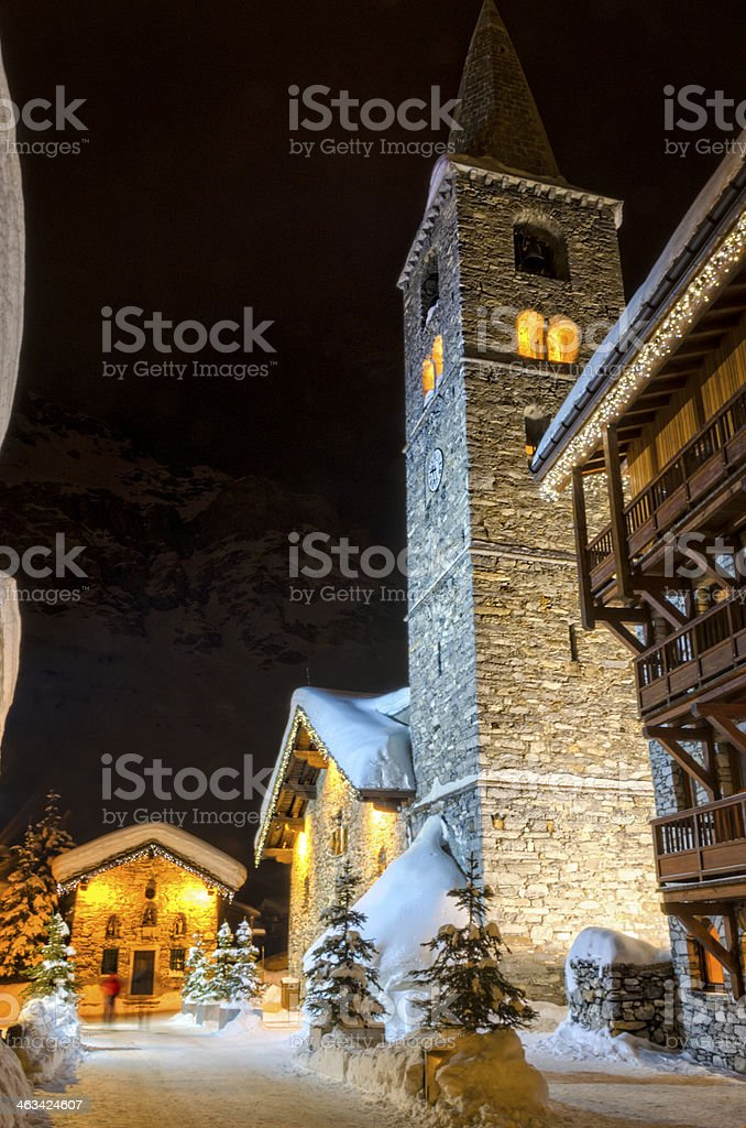 Christmas time in Val D'isere stock photo