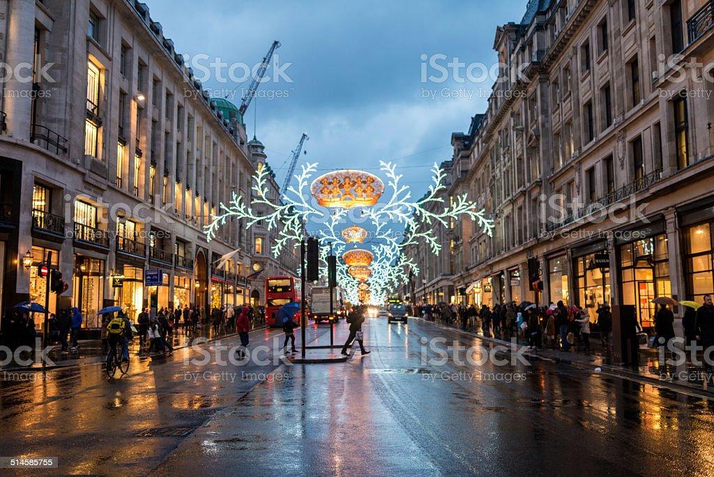 Christmas Time London Regent Street stock photo