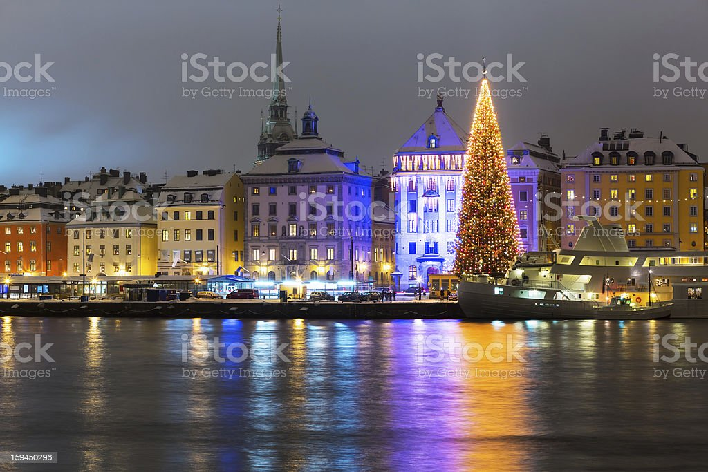 Christmas time near the water in Stockholm Sweden royalty-free stock photo