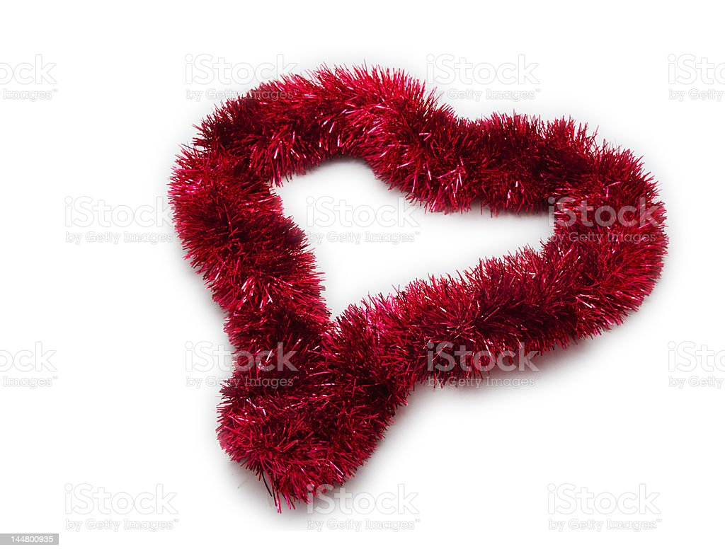 Christmas Tinsel Decoration: Heart Shaped stock photo