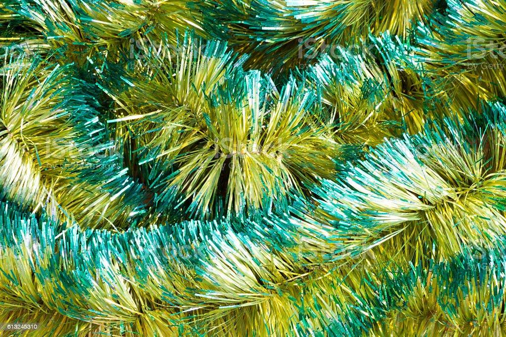 Christmas tinsel decorations stock photo