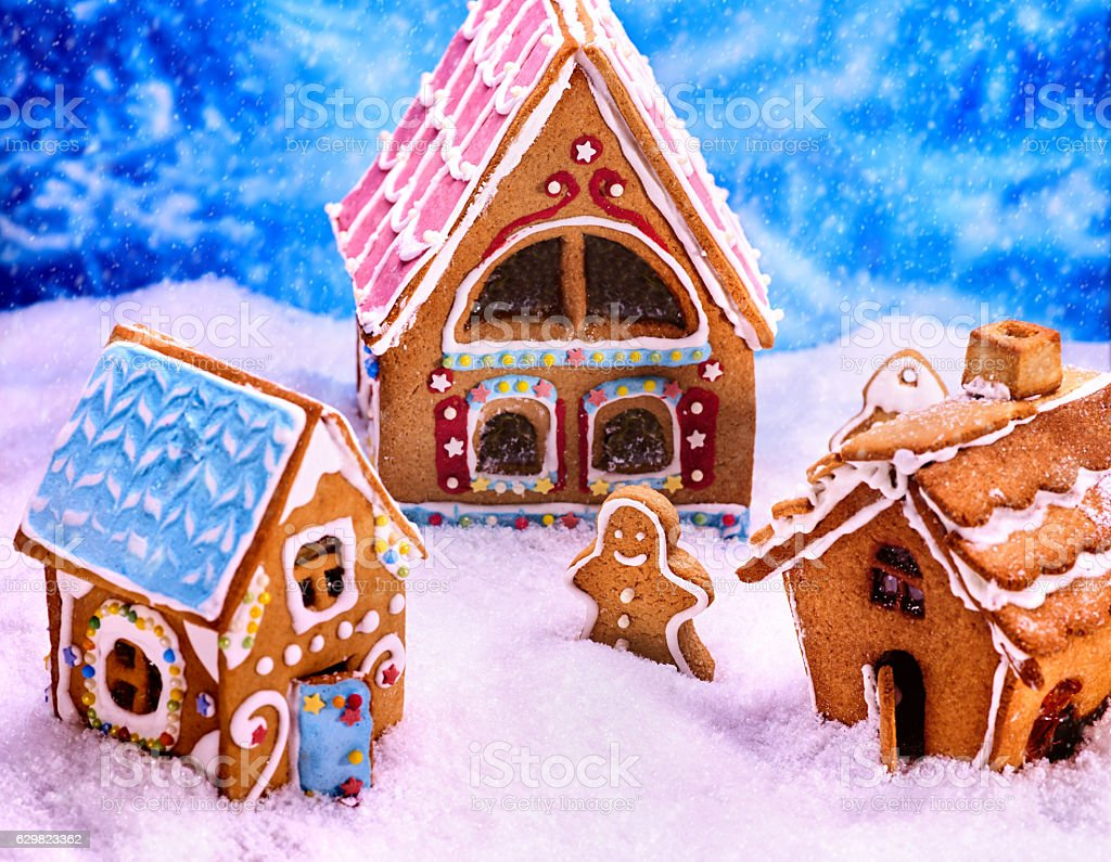 Christmas top view of gingerbread man and house. stock photo