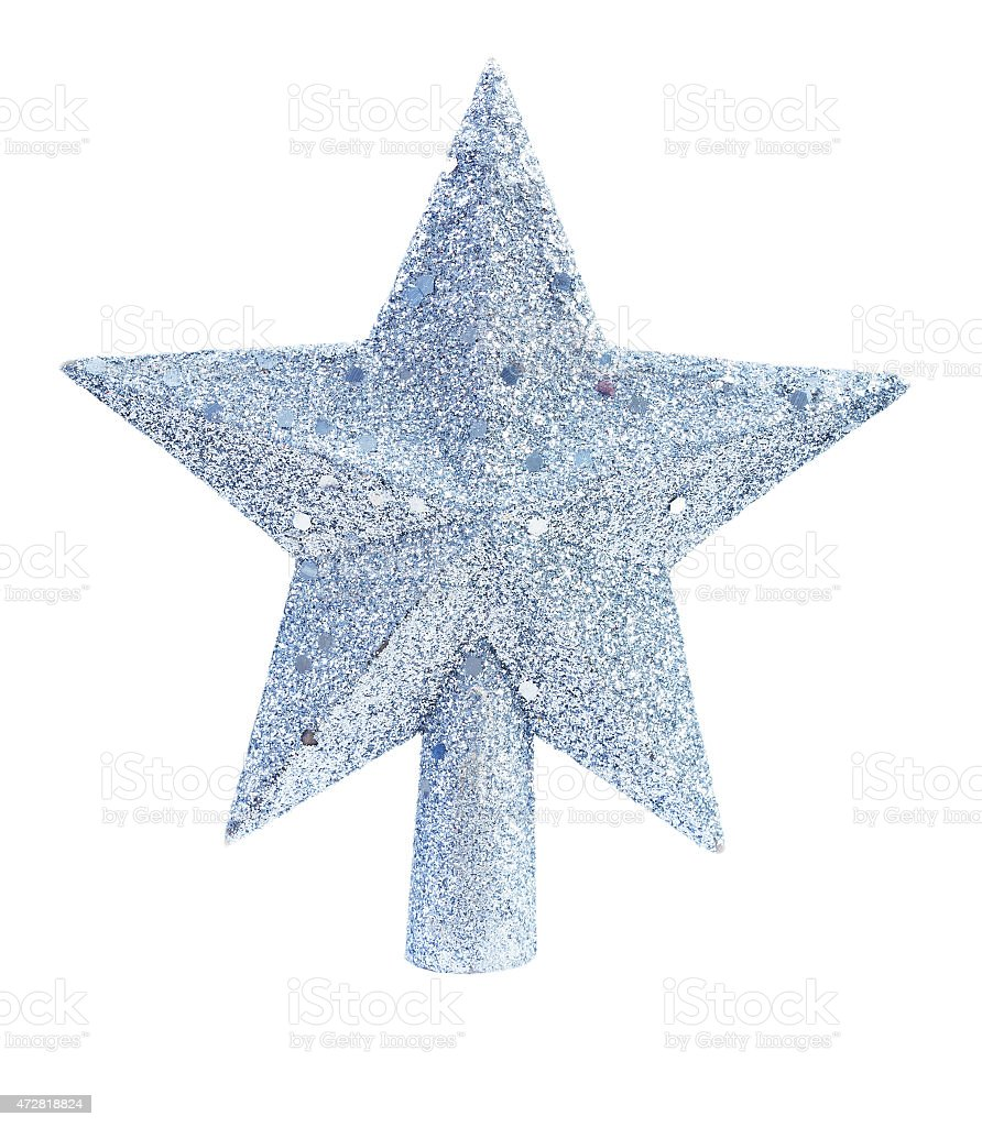 christmas toy star for fir tree isolated on white background stock photo