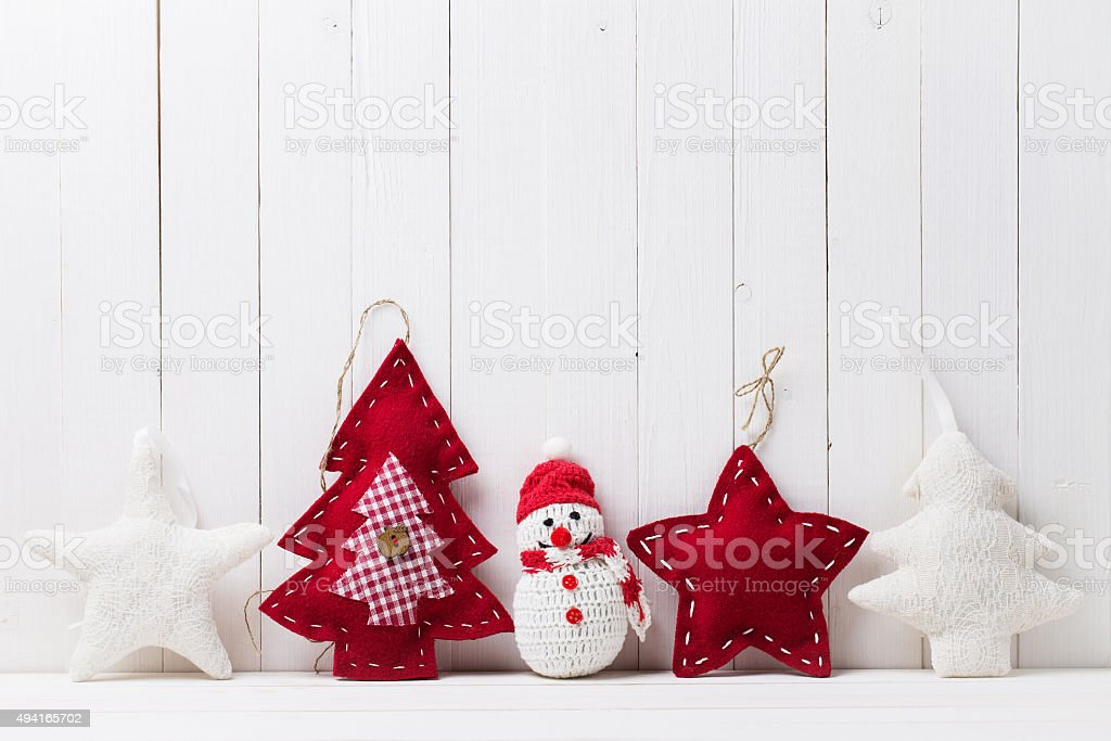Christmas toys in the background of wood stock photo