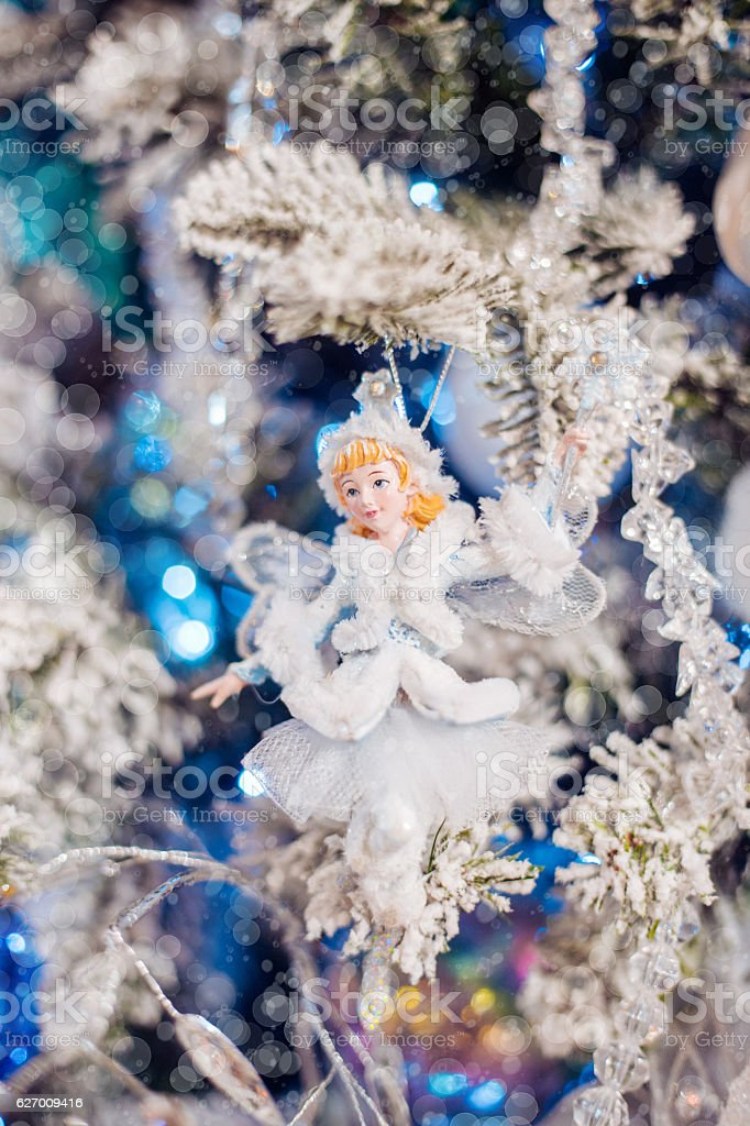 Christmas toys in the form of Thumbelina. stock photo