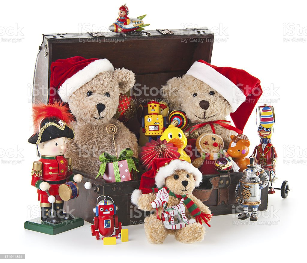 Christmas Toys With Teddy Bear and Ornaments royalty-free stock photo