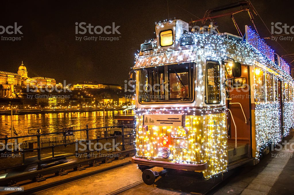 Christmas Tram stock photo