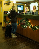 Christmas travel hotel check-in