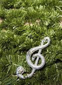 Christmas treble clef on tinsel