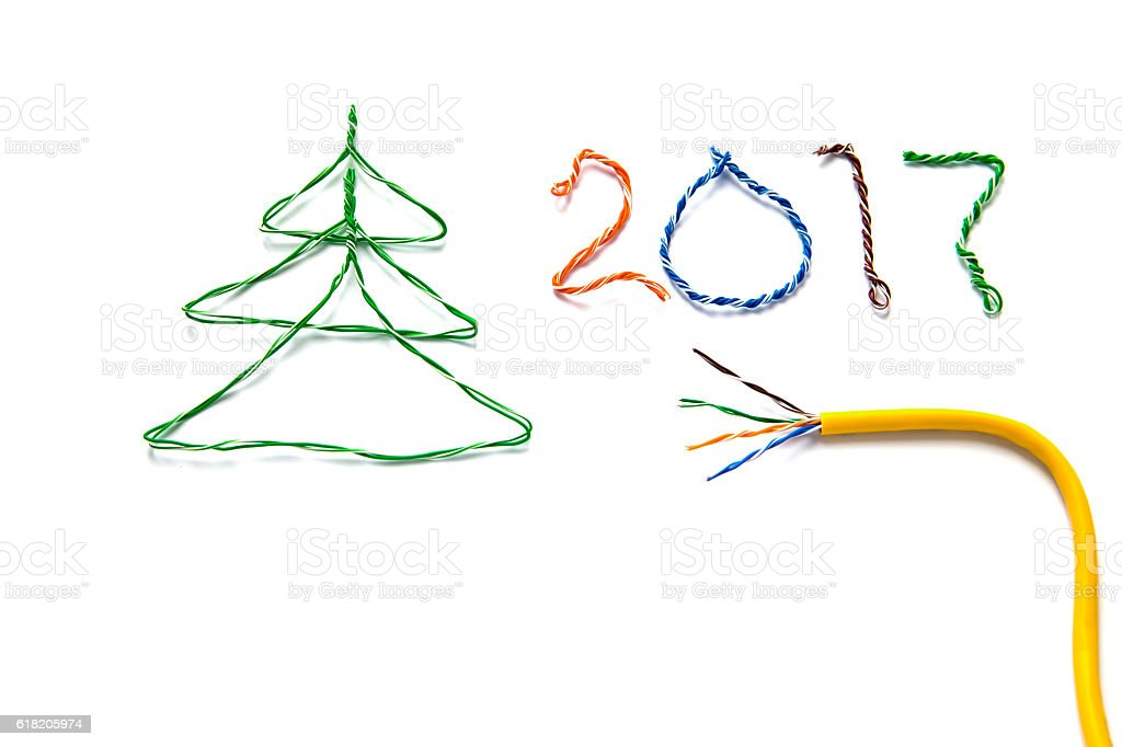 Christmas tree, 2017 made from cables of Twisted pair RJ45 stock photo