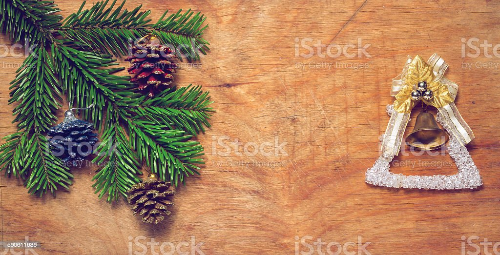 Christmas tree a Green twig and a bell stock photo