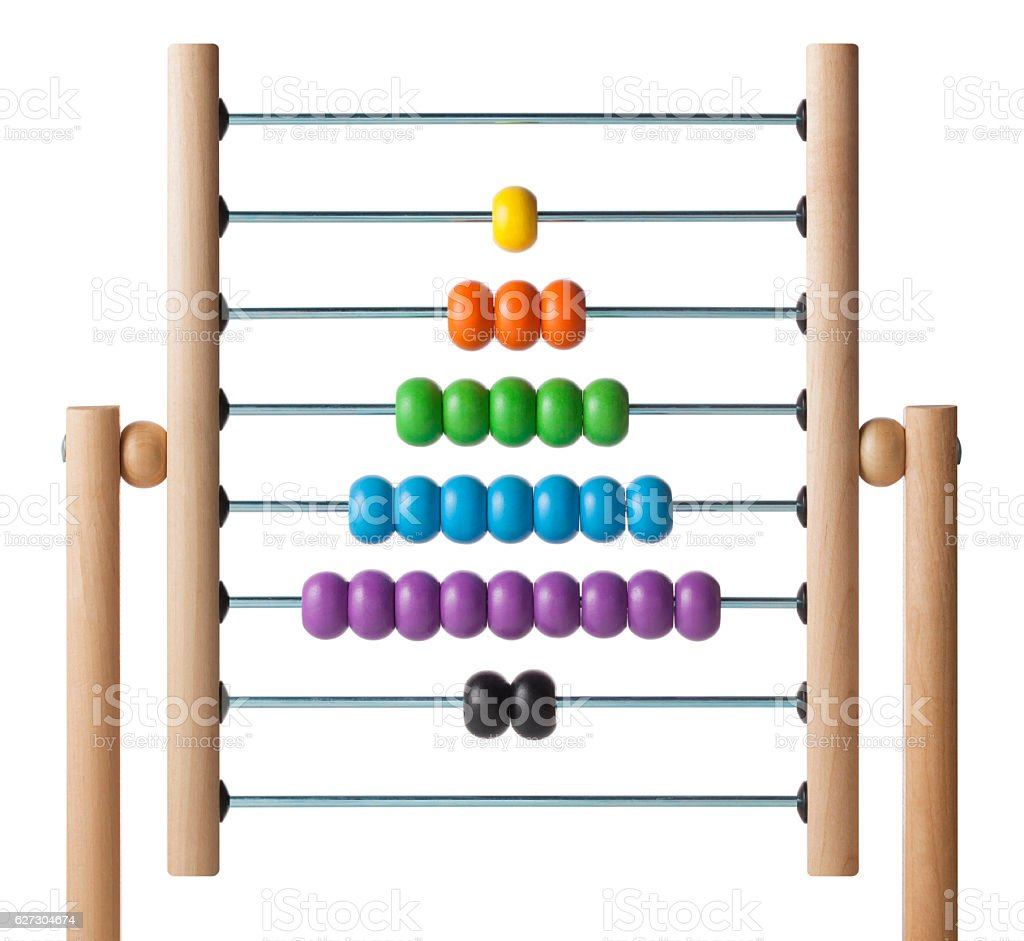 Christmas tree. Abacus with colored beads. stock photo