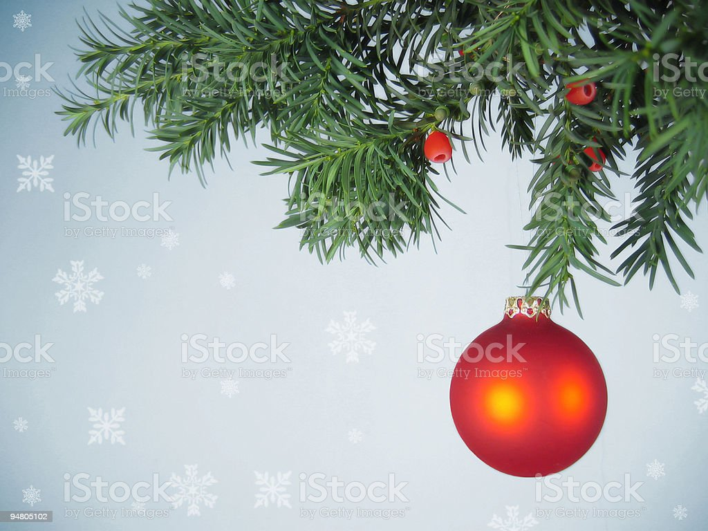 A Christmas tree and a red bauble royalty-free stock photo