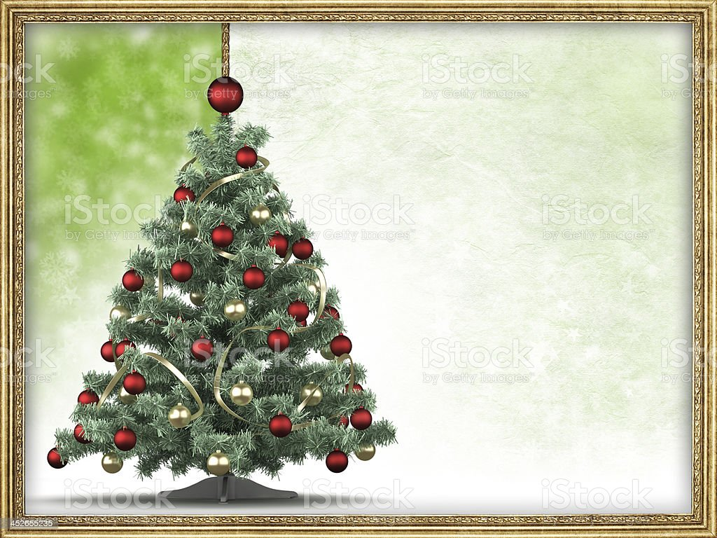 Christmas tree and blank space for text in picture frame royalty-free stock photo