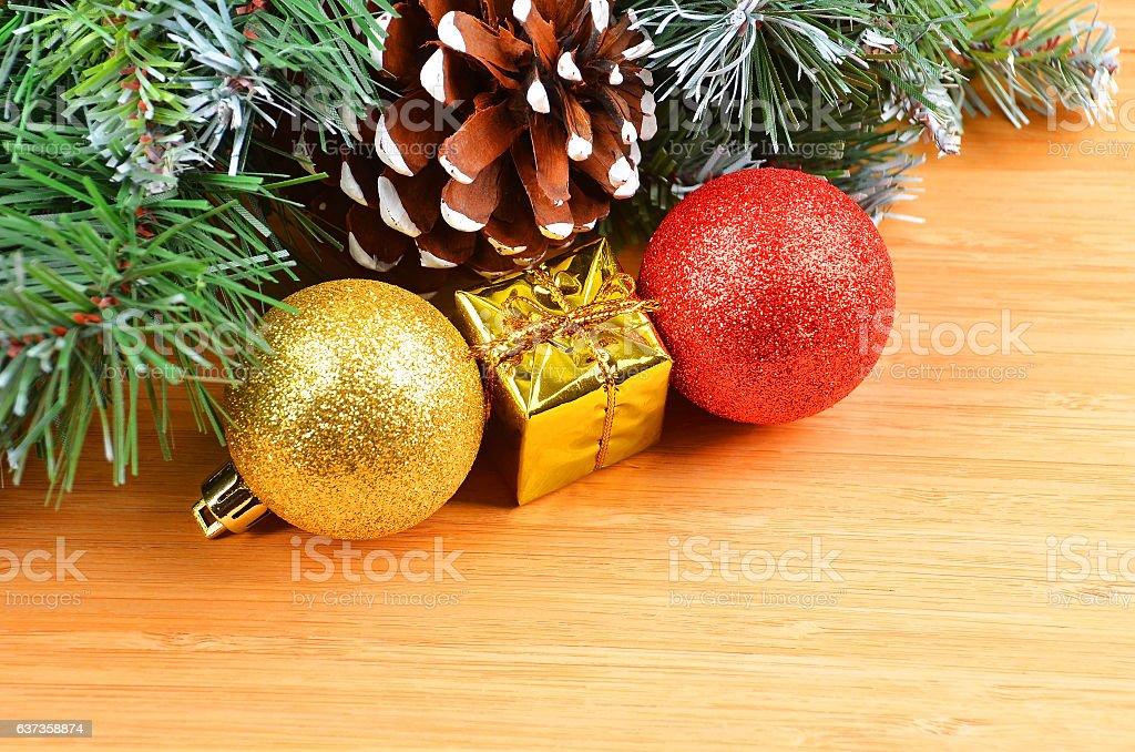 Christmas tree and decor stock photo