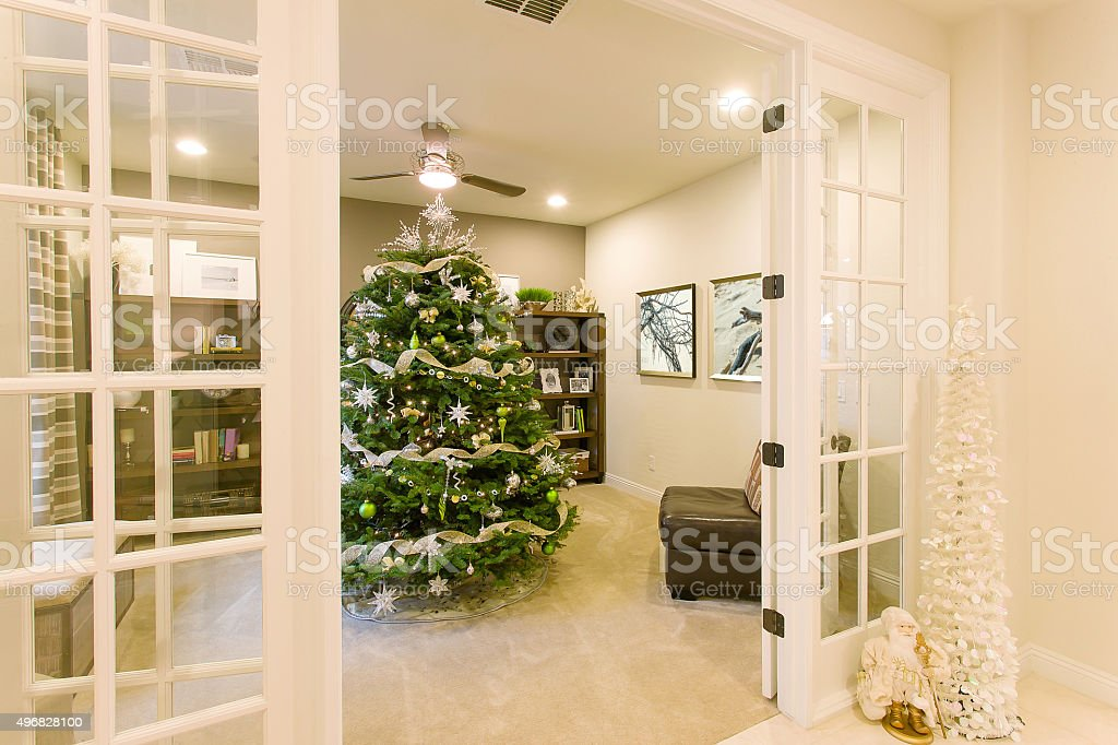 Christmas tree and decorations in an elegant home stock photo