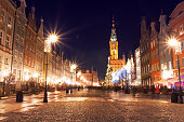 Christmas tree and decorations in old town of Gdansk, Poland