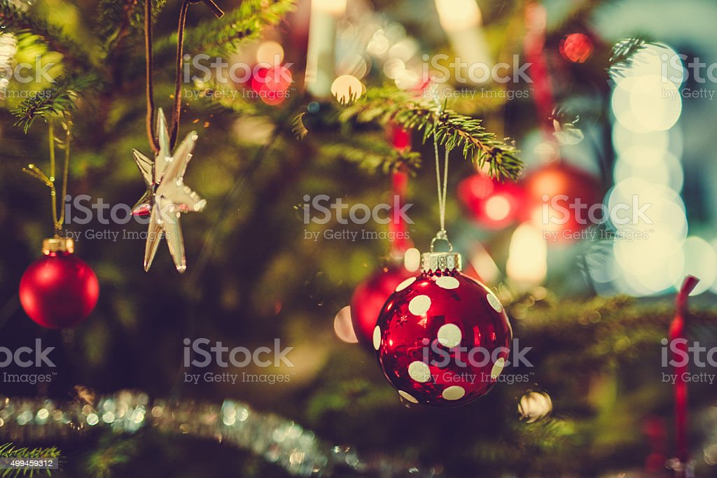 Christmas tree and dotted cristmas ornament stock photo