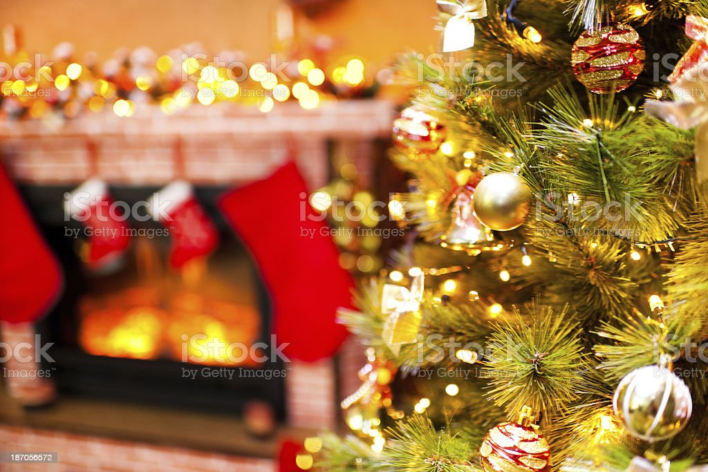 Christmas tree and fireplace. royalty-free stock photo